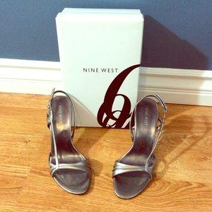 Nine West Pewter Slingback Heels.